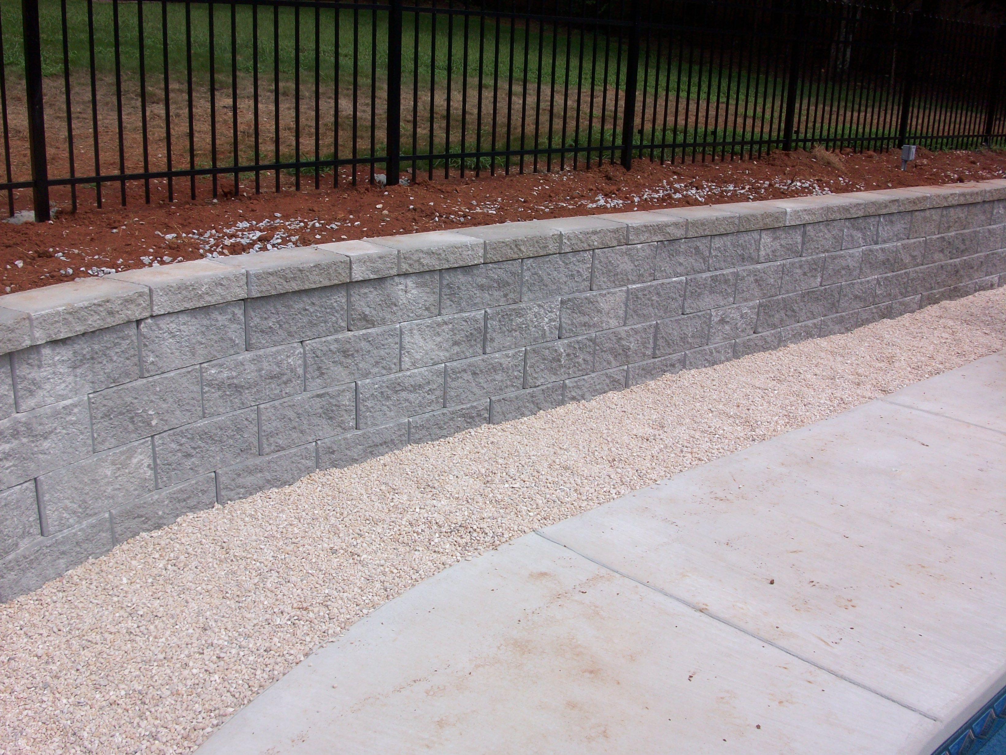 Retaining Wall with Rock Planter