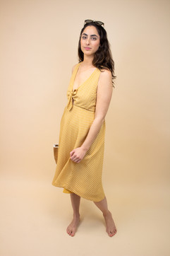 Vintage Handcrafted Honey Yellow Polka Dot Dress