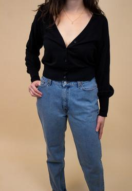 Black Button Up Cardigan Sweater