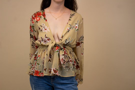 Sheer Floral Ruffled Tie Front Blouse