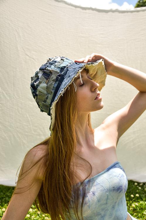 White & Denim Confetti Bucket Hat
