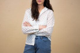 Vintage Teddy White Floral Eyelet Button Up Blouse