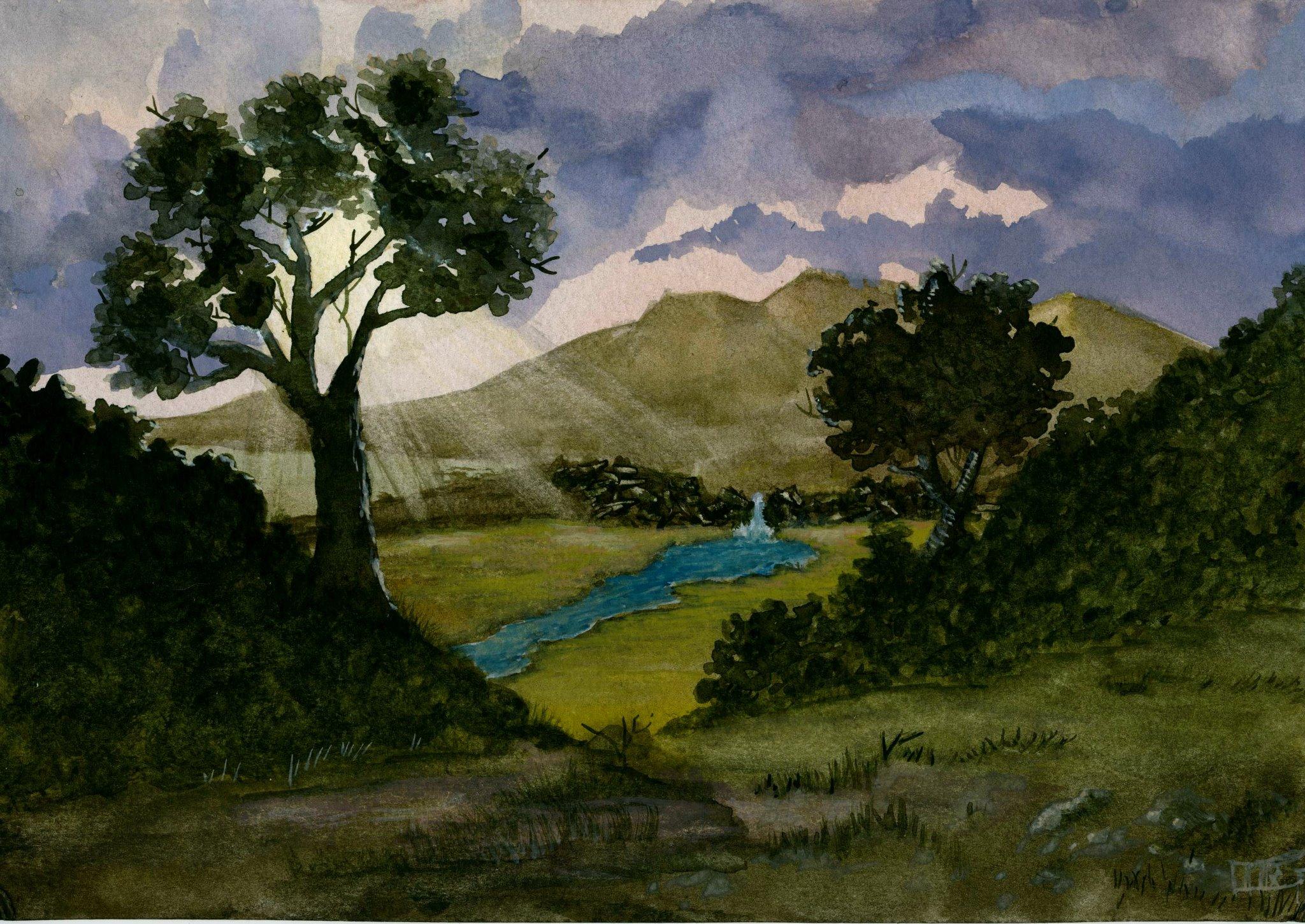 Sky, Mountain, River
