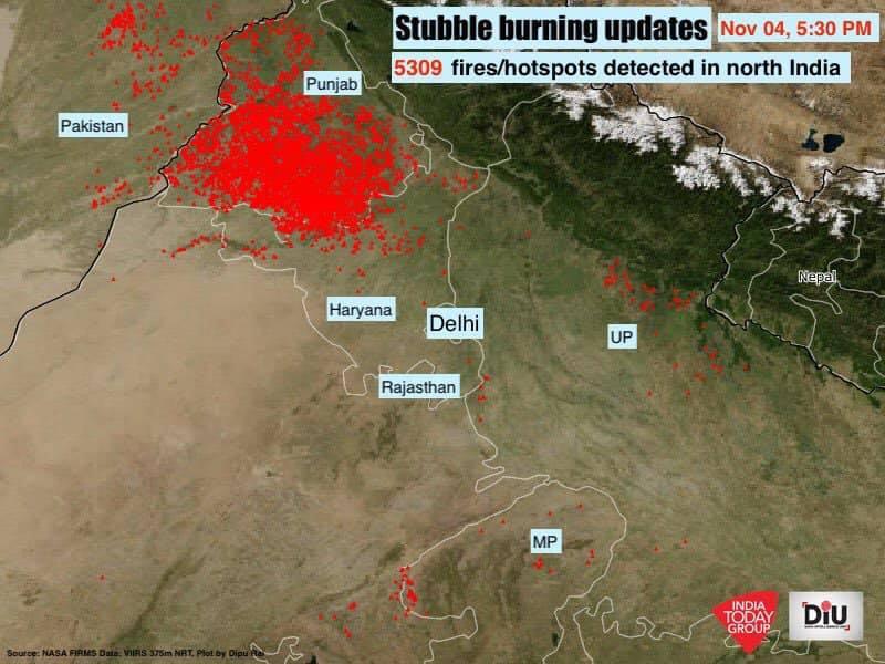Stubble burning in Delhi, Gurgaon, Haryana, Punjab