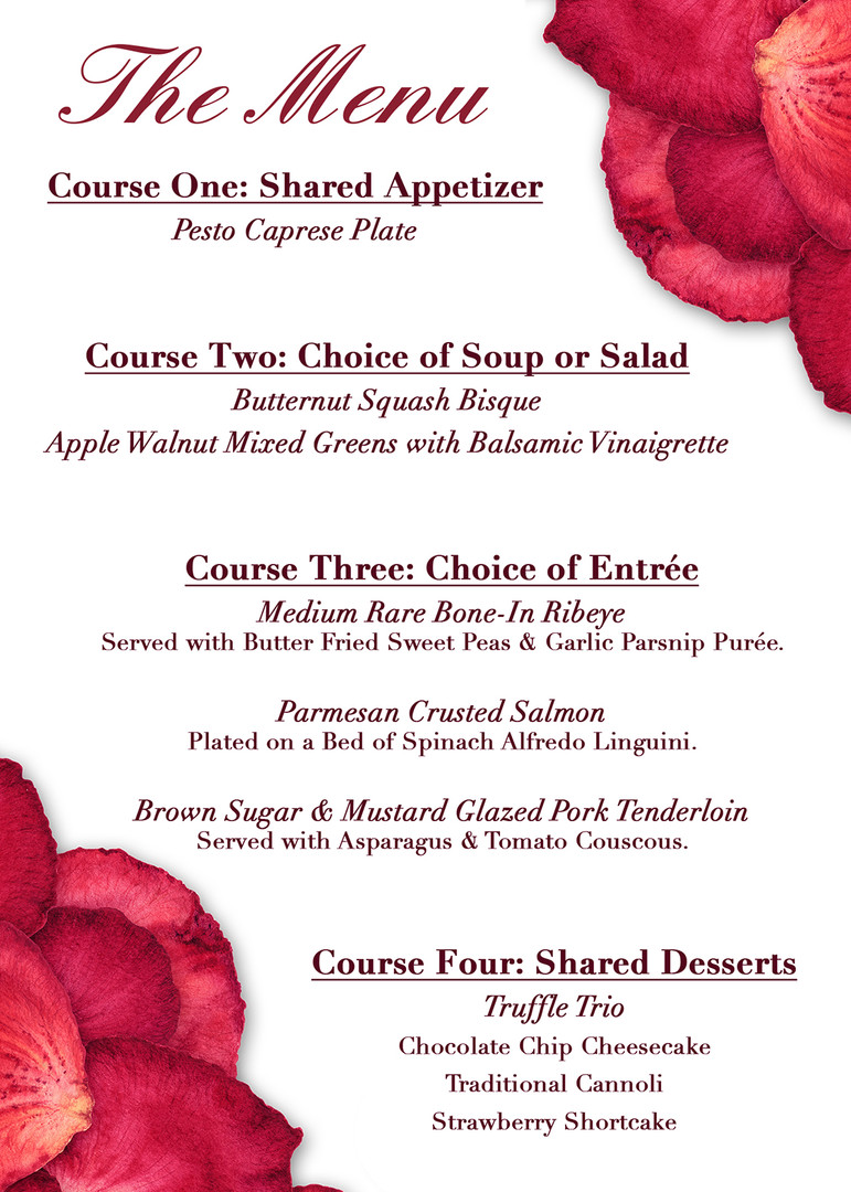 Valentine's Day Dinner 2020 Menu
