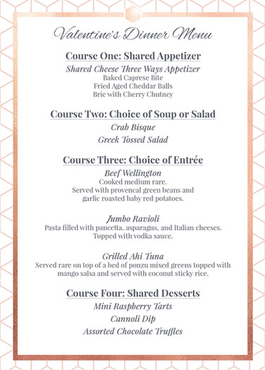 Valentine's Day Dinner 2019 Menu