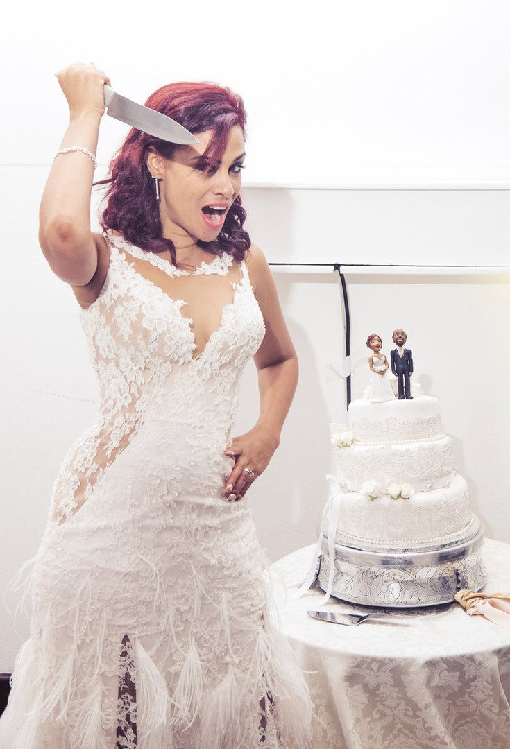 "Bianca Le Grange about to ""murder"" her wedding cake!"
