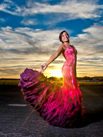TV Presenter Tracey Lange in a custom Reflections dress at the KKNK (Klein Karoo Nasionale Kunsfes) Verebal/ Feather Ball