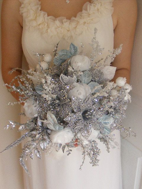 Winter Wedding Flowers with silver and sparkles
