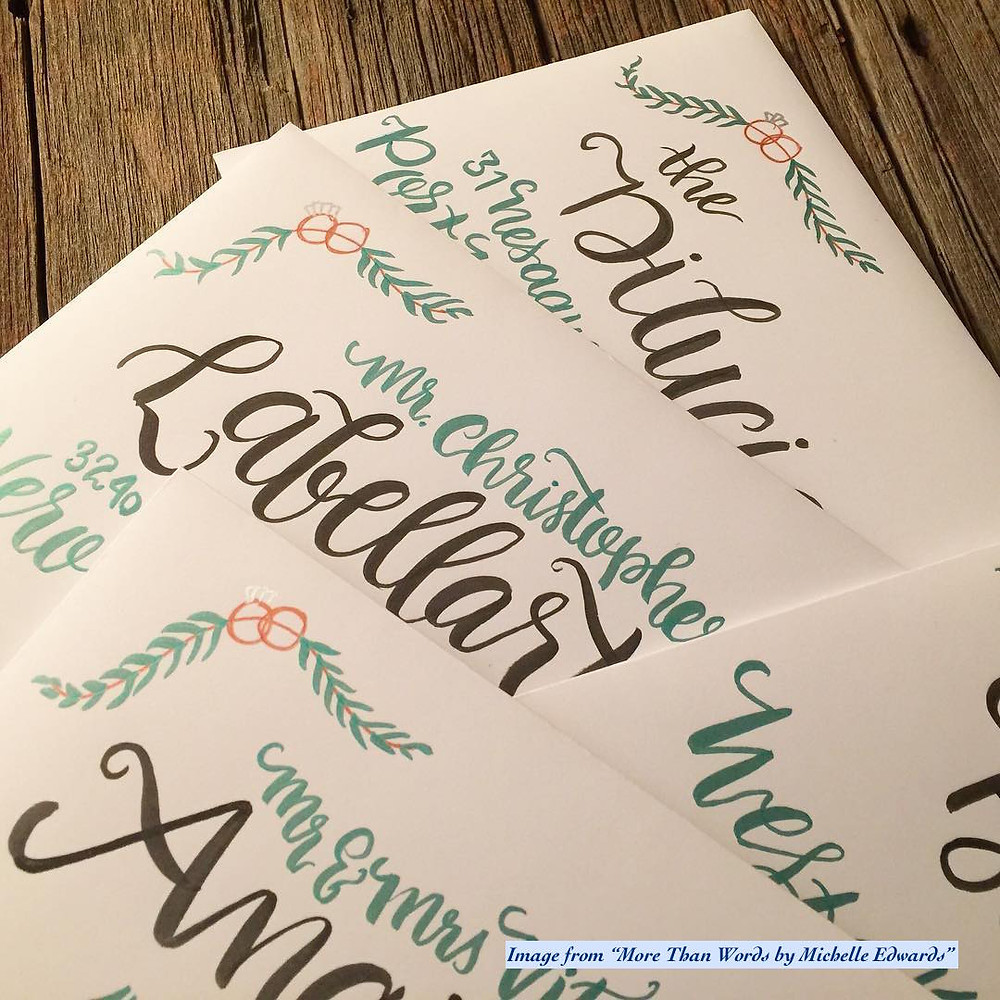 Hand Addressed Calligraphy Wedding Invitations by More Than Words by Michelle Edwards