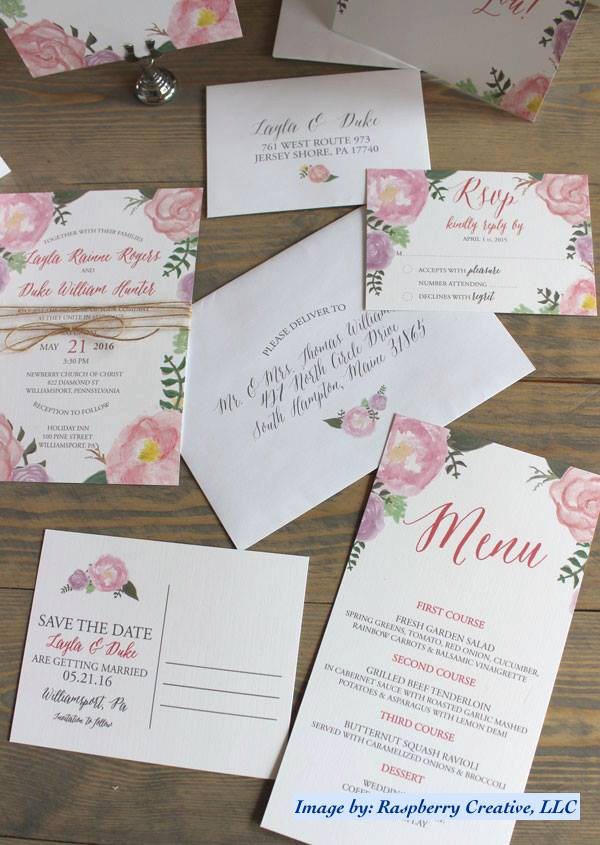 Printed Wedding Invitations by Raspberry Creative, LLC