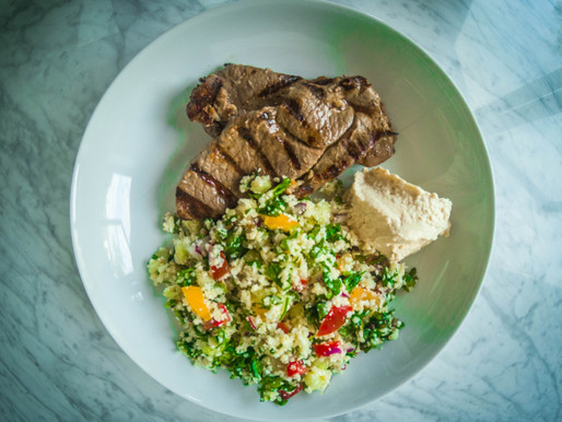 Cauliflower 'rice' tabbouleh with garlicky, griddled lamb