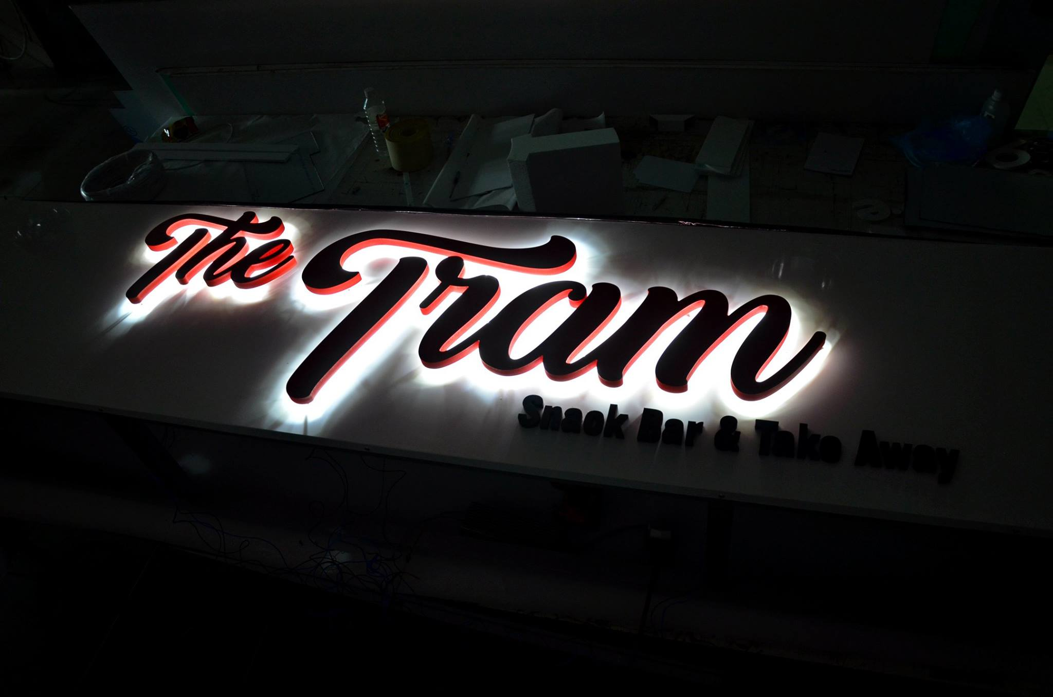 Tram 20mm pvc letters with halo led
