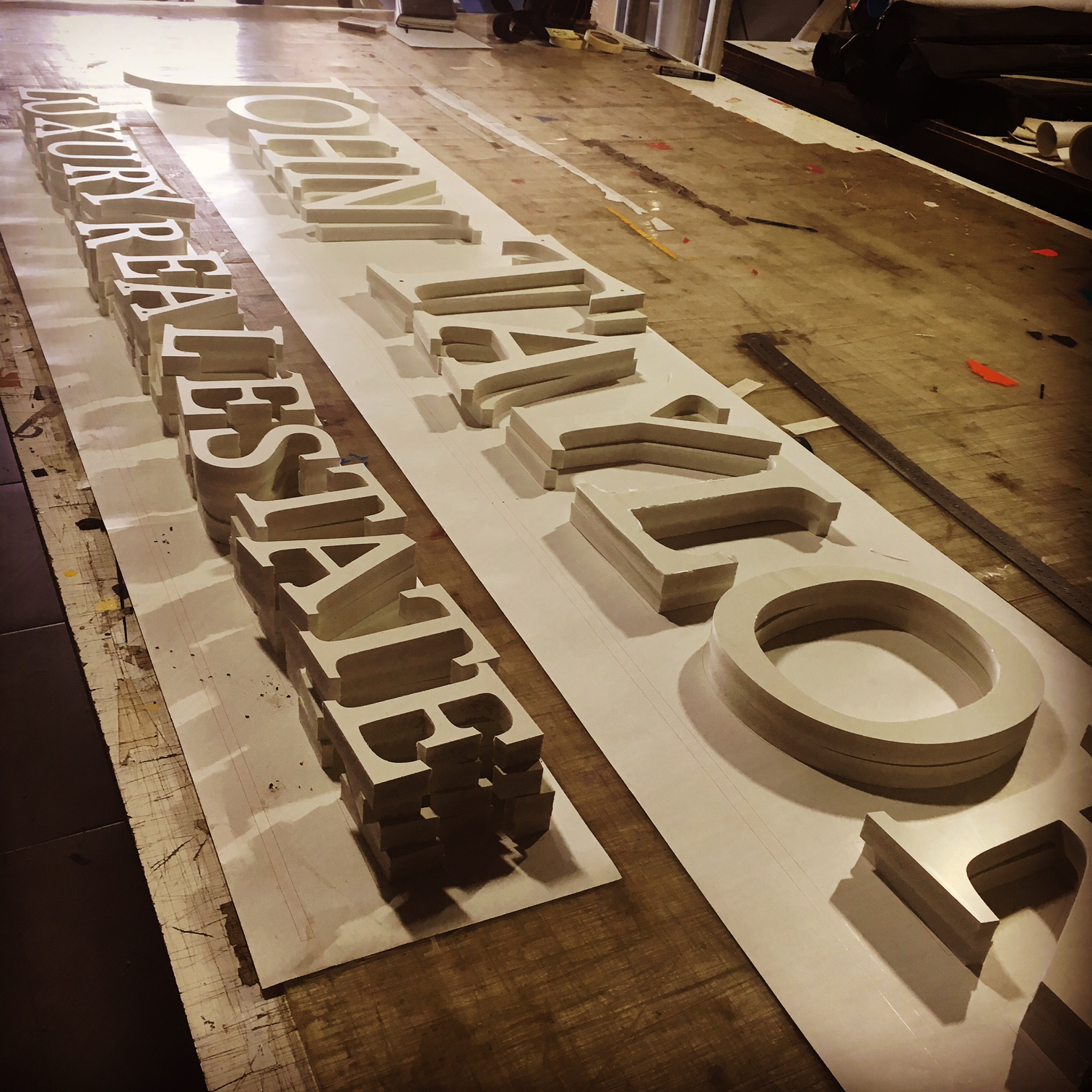 40mm plastic cnc routed lettering