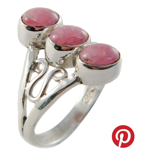 Sterling Silver Ring with Rhodocrosite Cabochons