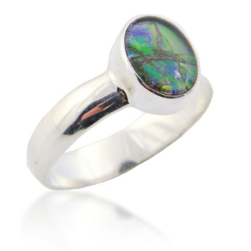 Sterling Silver Ring with Ammolite Cabochon