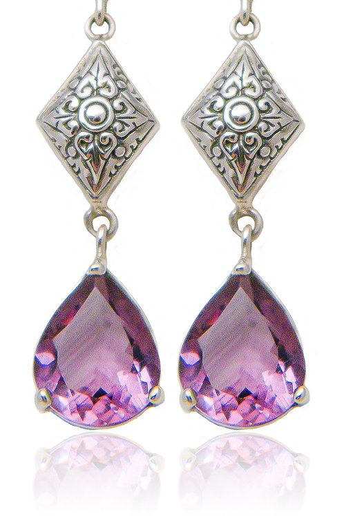 Sterling Silver Earrings with Amethyst Stones