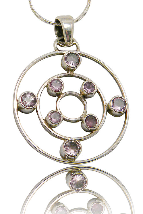 Sterling Silver Pendant with 8 Amethyst Cabochons