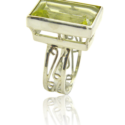 Sterling Silver Ring with Lemon Topaz Stone