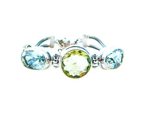 Lemon Topaz & Green Amethyst Bracelet
