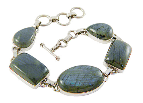 This 5 Stone Labradorite Bracelet Can Be Worn As A Size Small Medium Or Large Pending The Toggle Clasp Closure Option Center Oval Is 1 2 26th