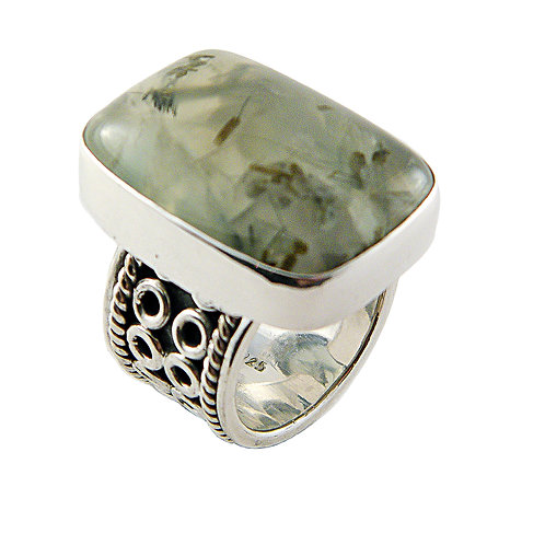 Sterling Silver Ring with Prehnite