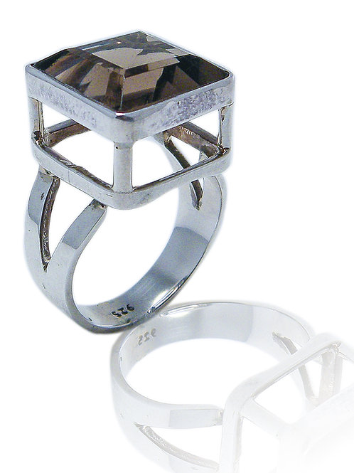 Sterling Silver Ring with Square Smokey Quartz