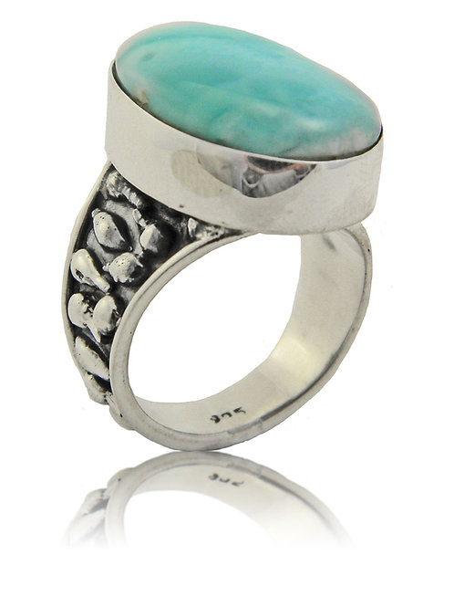 Sterling Silver Ring with Larimar