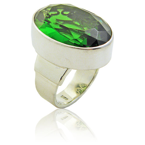 Sterling Silver Ring with Green Obsidian