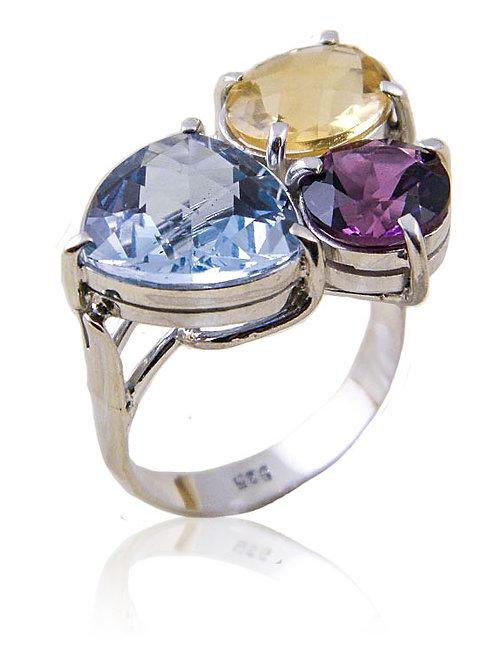 Sterling Ring-Amethyse, Blue Topaz & Citrine