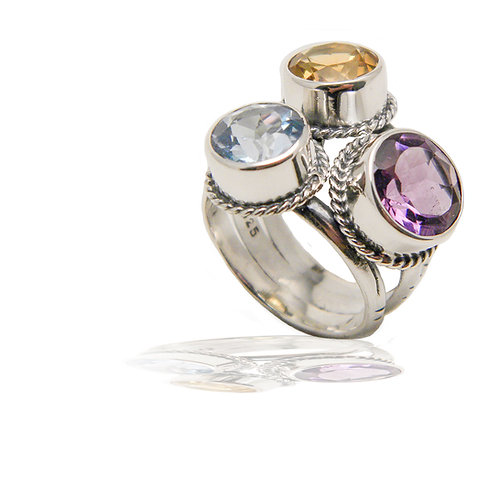 Sterling Ring - Blue Topaz, Amethyst & Citrine
