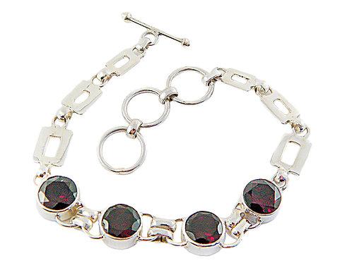 Sterling Silver Link Bracelet with Red Garnet
