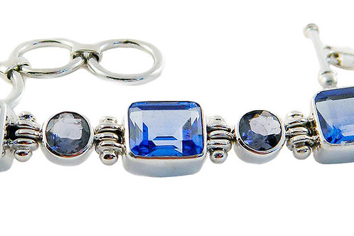 Sterling Silver Bracelet With Blue Siberian Quartz