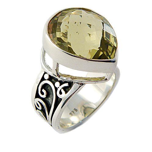 Sterling Silver Ring with Lemon Quartz Stone