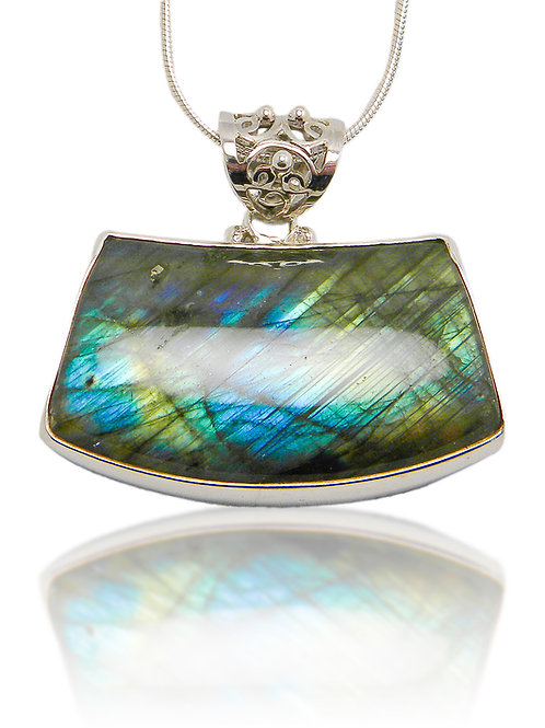 Sterling Silver Pendant with Labradorite Cabochon