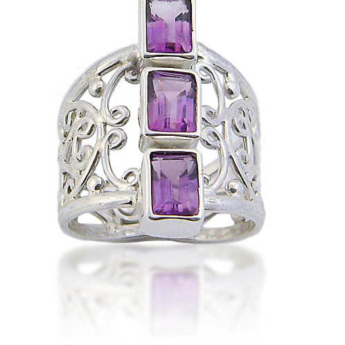 Sterling Silver Ring with 3 Amethyst Stones