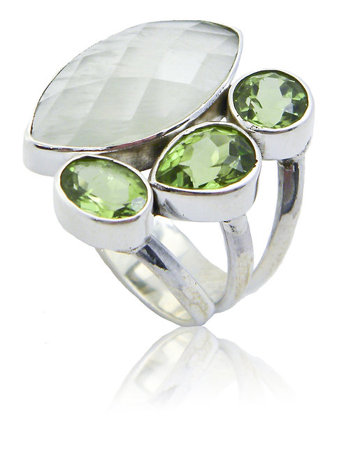 Sterling Silver Ring with Prehnite & Peridot