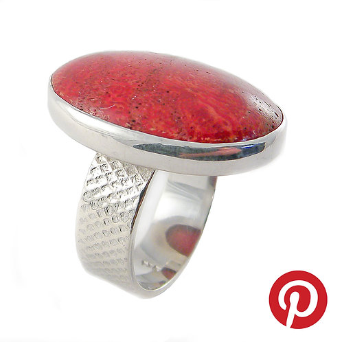 Sterling Silver Ring with Red Coral