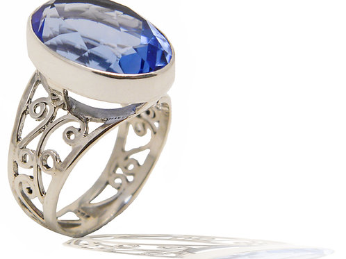 Sterling Silver Ring with Blue Siberian Quartz
