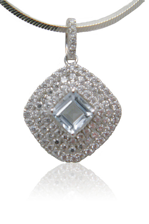 Sterling Silver Pendant with Blue Topaz & CZ