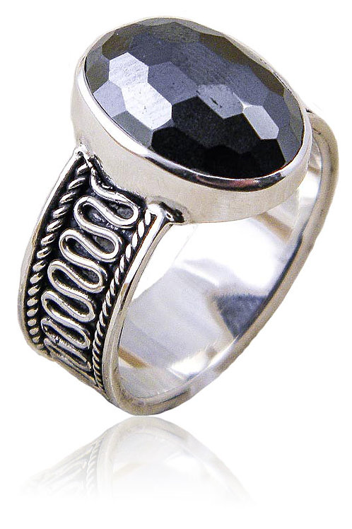 Sterling Silver Ring with Faceted Hematite