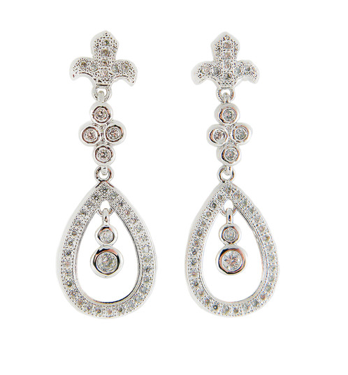 Stunning Sterling Silver Fleur De Lis Earrings With Pave Set Cubic Zirconia On Posts Take These Ume To A Tail Party Or Just