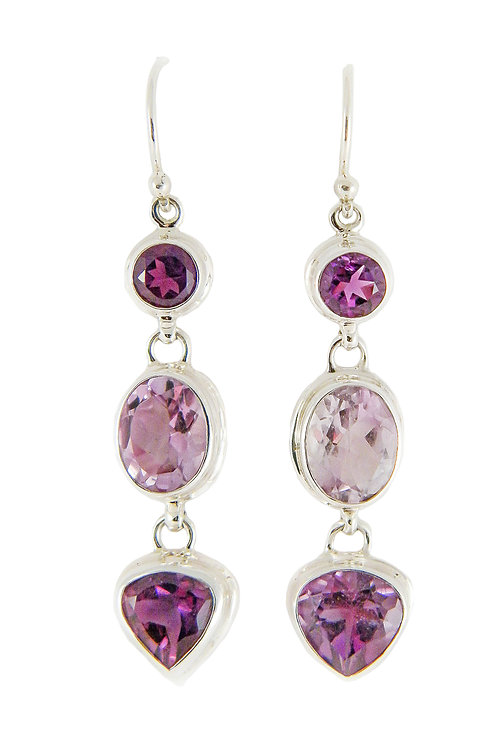 Sterling Silver Earrings with Amethysts
