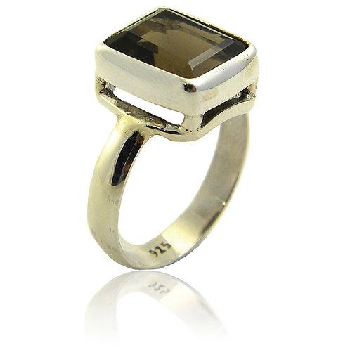 Sterling Silver Ring with Smokey Quartz Stone