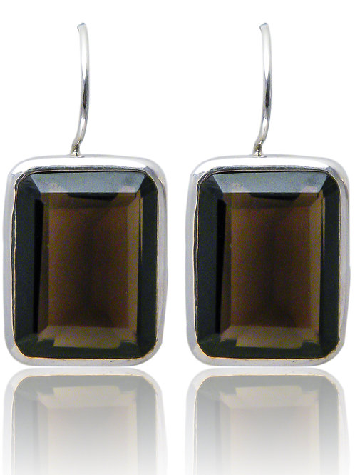 Sterling Silve Earrings with Smokey Quartz