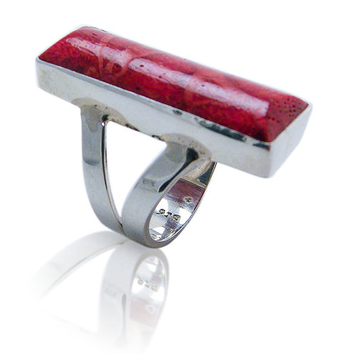 Sterling Silver Ring with Red Coral Cabochon