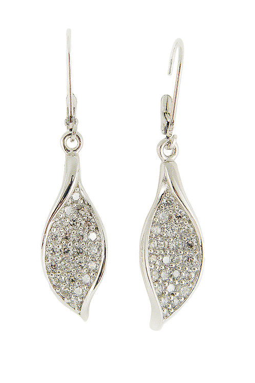 Sterling Silver Leaf Earrings with CZ
