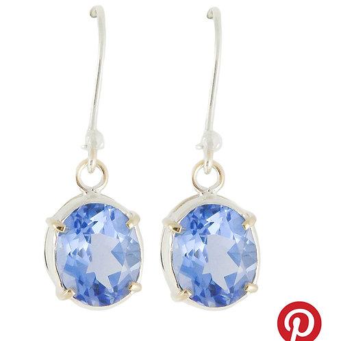 Sterling Silver Earrings with Blue Siberian Quartz