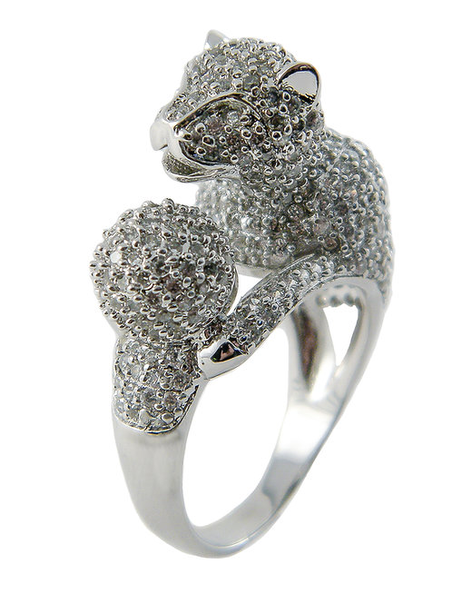 Sterling Silver Tiger Ring with CZ