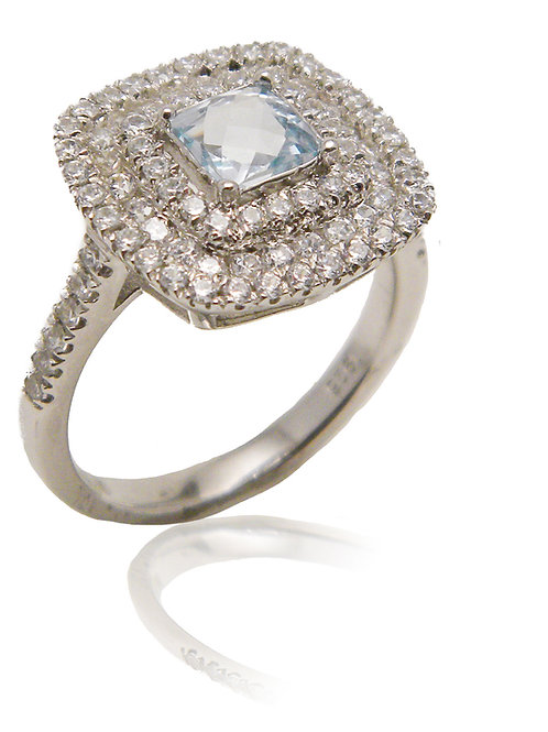 Sterling Silver Ring with Blue Topaz & CZ Stones
